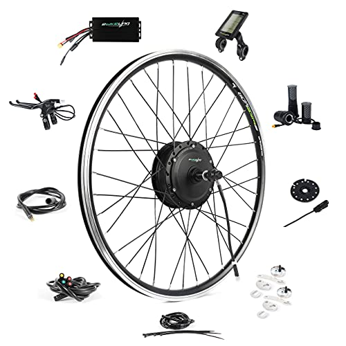 """EBIKELING Waterproof Ebike Conversion Kit 36V 500W 26"""" Geared Electric Bike Conversion Kit - Front Wheel Electric Bike Kit - Electric Motorbike Kit (Front/LCD/Twist)"""