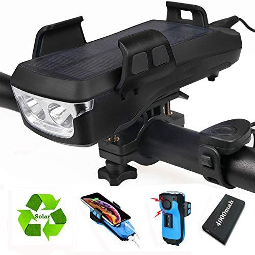 KWDA 4 in 1 Multifunktion Solar Fahrradlicht Led Set,Enthalten Licht Fahrrad Vorne,Fahrrad Handyhalterung,USB Outdoor Powerbank 4000mah,Fahrradklingel and Fahrradbeleuchtung (solar)