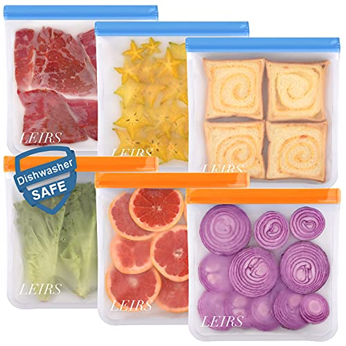 Dishwasher Safe Reusable Gallon Bags, 6 Pack Reusable Food Bags Extra...