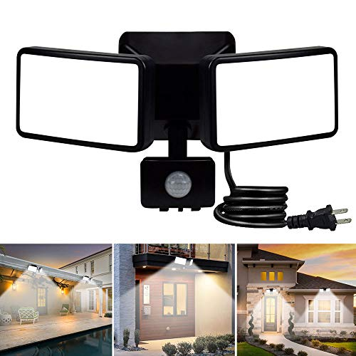 DLLT LED Motion Sensor Outdoor Light-20W IP65 Waterproof Sensitive Security Lights Plug in 2-Adjustable Heads Motion Detected Flood Light for Garage Yard Garden Patio Entryways, 6000k