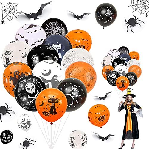 QIMMU Halloween Globos Decoración Set,50 Piezas Happy Halloween Balloons,48 Piezas Pegatinas de Murciélago de Halloween,12 Piezas Halloween 3D Araña Pegatinas para Decoraciones de Pared,Ventana