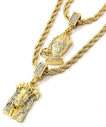 Jewel Town Mens Gold Two Piece Jesus & Prayer Hand Bundle Set Pendant Hip Hop 24' & 30' Rope Chain D219