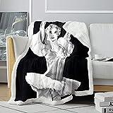 Manta de Tiro 3D AudreyHepburn Tiffany's Breakfast Bed Manta Heroína Sherpa Manta Cómoda Manta de Franela de Amigos 120x150cm