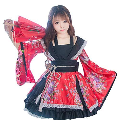 fagginakss Vestido de Kimono Tradicional Japonés para Mujer,Anime Ropa Cosplay Fotografía Vestir Cosplay Carnaval,Rojo,Talla S-XL