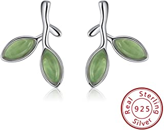 JJGL 925 Sterling Silver Earrings Fashion Women Jewelry Crystal Leaf Shape Silver Earing Trendy Gift