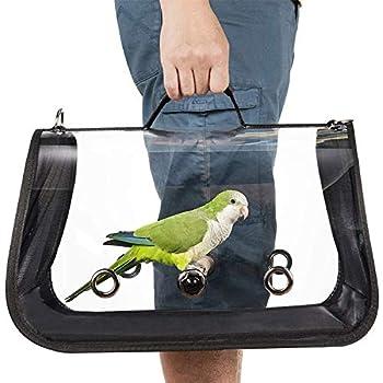 Transporteur d'oiseaux léger, sac à main respirant transparent de perroquet de cage de voyage d'oiseau de PVC avec un bâton en bois