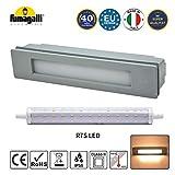 Foco LED empotrable con protección IP55 contra el agua para exteriores 230 V R7S, 11 W, blanco cálido, iluminación exterior para escaleras, jardín, entrada, terraza, muros y entradas
