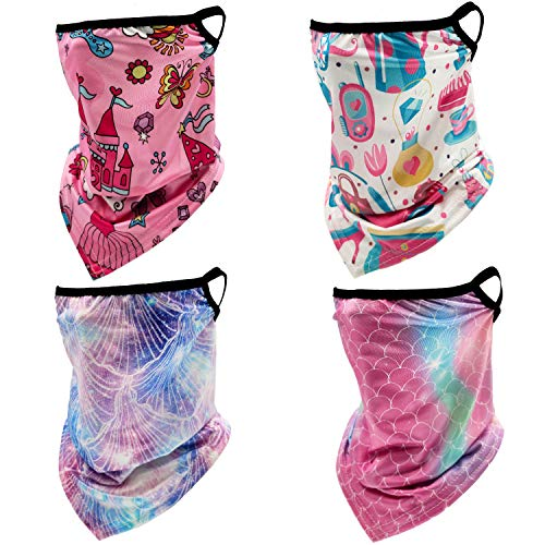 4 Pack Kids Neck Gaiter Face Cover Mask with Ear Loops Children Cooling Summer Sun UV Ski Face Scarf Mask for Girls Boys (4pcs Printing1)
