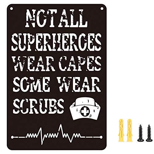 TFORESTER Not All Superheroes Wear Capes Some Wear Scrubs - Nurse Decor - Nurse Gift - Funny Sayings for Nurses - Nurse Signs - Nurse Gifts - Nurse Plaques - Shelf Knick Knacks
