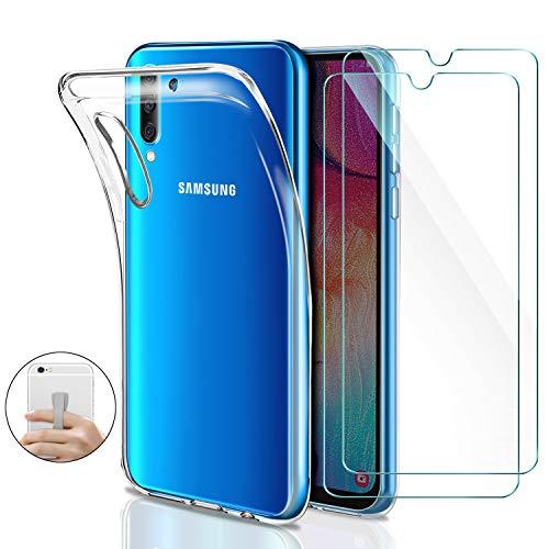 Younme Coque pour Samsung Galaxy A30s/ A50 Silicone Transparente, [Lot de 2] Verre trempé écran Protecteur + Souple TPU Étui Protection Housse [avec Support autoadhésif] pour Samsung Galaxy A50/A30s