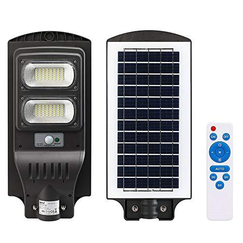 Farola de calle LED exterior 60 W con panel solar luz blanca 8000 K ultra luminosa regulable 490 lm foco de pared con sensor de movimiento PIR mando a distancia función temporizador IP65