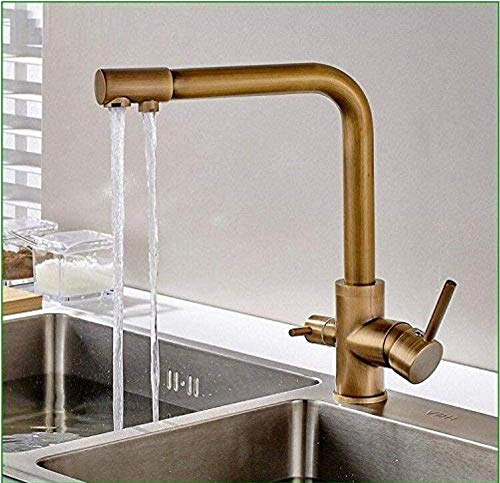 Retro faucet antique copper color dual use pure water double head kitchen basin faucet flat sink hot and cold water mixing key