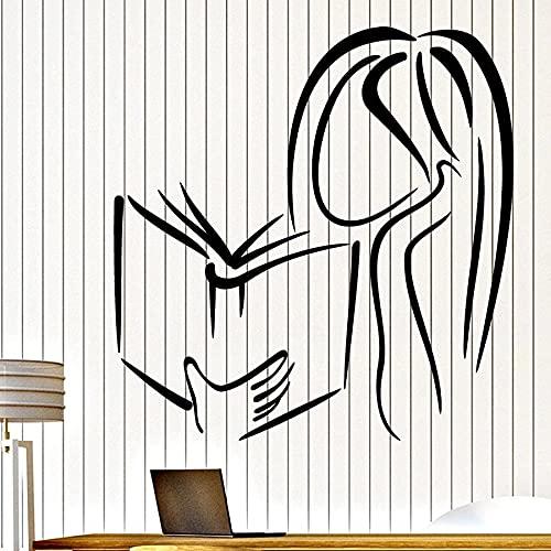 HGFDHG Wandtattoo Mädchen Lesebuch Buchhandlung Bibliothek Leseecke Innendekoration Vinyl Fenster Aufkleber Mädchen Schlafzimmer Kunst Wandbild