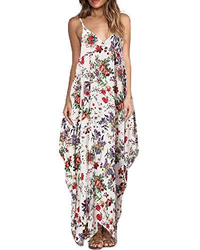 ZANZEA Vestidos Largos Verano Cuello V Tallas Grandes Mujer Vestidos Fiesta Estampado Floral Vestido Playa Tirantes 01-Flor Rojo 3XL