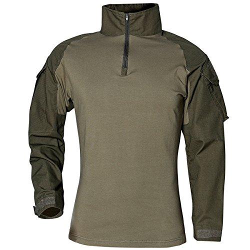 Taktisches Hemd Militärhemd Airsoft Männer Langarm BDU Combat Camouflage Camo Kampf T-Shirt für Tactical Paintball Uniform Armee grün X-Large