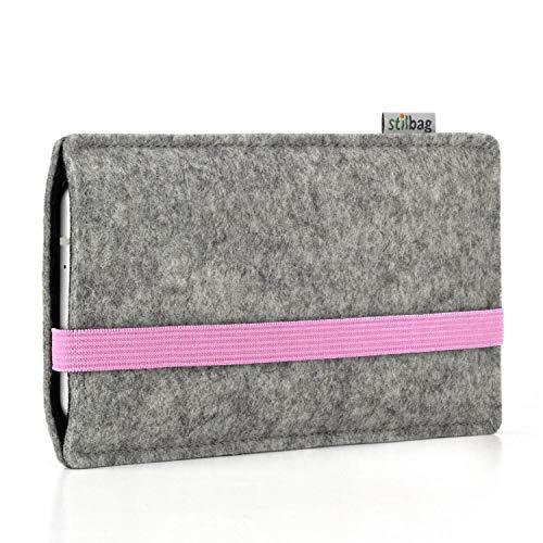 stilbag Handyhülle Leon für LG G7 Fit | Farbe: hellgrau/rosa | Smartphone-Tasche aus Filz | Handy Schutzhülle | Handytasche Made in Germany