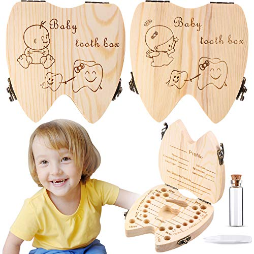 2 Wooden Baby Tooth Box, Cute Children Tooth Storage Container for Kids Girl Boy Baby Tooth Organizer Holder Tooth Saver Box with Tweezers and Lanugo Bottle to Keep The Childhood Memory