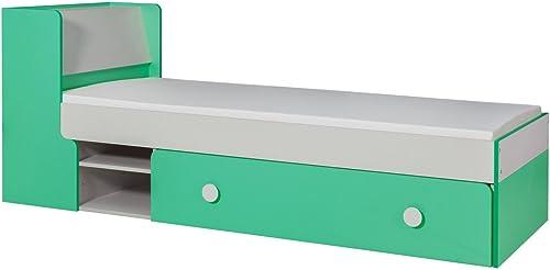 Kinderbett Jugendbett Harald 13 inkl. Schublade und Lattenrost, Farbe  Weiß Grün - 80 x 195 cm (B x L)
