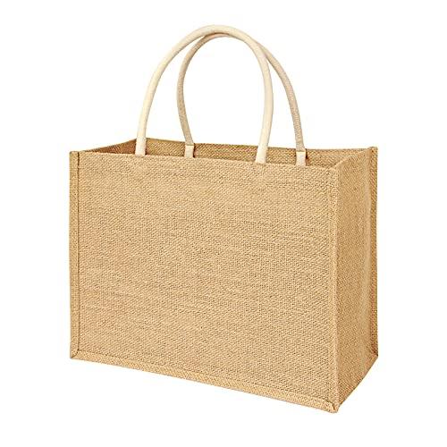 Tibroni Borse in Juta, Borsa Juta per la Spesa Portatile, Borsa per la Spesa Portatile in Juta Naturale Shopping Bag Riutilizzabile Artigianato in per shopping, picnic, regali, viaggi, spiaggia