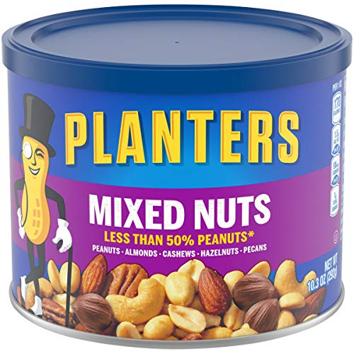 PLANTERS Mixed Nuts, 10.3 oz Canister (Pack of 160) - Peanuts, Almonds, Cashews, Hazelnuts & Pecans Roasted in Peanut Oil - Game Day Snacks & After School Snacks - Resealable Lid - Kosher