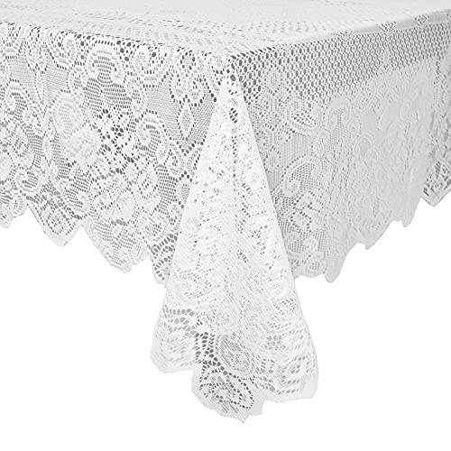 Mantel Rectangular con encaje de elegantes motivos florales, Blanco, 1,4 metros x 1,8 metros