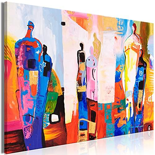 murando HandArt Bilder auf Leinwand Abstrakt 120x80 cm 1 TLG Leinwandbild Wandbilder Wohnzimmer Wanddekoration Moderne Kunst - Gestalt Figuren bunt a-A-0543-b-a