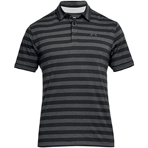 Under Armour pour homme CC Scramble à rayures Polo manches courtes , Black / Rhino Gris (001) - Medium
