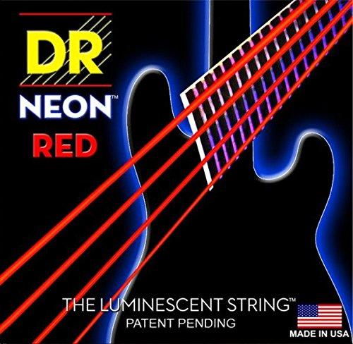 'Dr HiDef Red Neon Medium 5045, 065, 085', 105', 125–Cuerdas para bajo de 5cuerdas S/Fluorescente (brillan en la oscuridad)