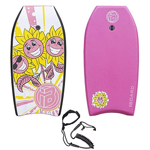 iBOARD Body Board,41' pulgadas rosa ligero bodyboard con cubierta EPS, correa premium y correa de muñeca para niños y adultos
