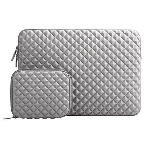 MOSISO Sleeve Hülle Tasche Kompatibel mit 2019 MacBook Pro 16 Zoll Touch Bar A2141, 15-15,6 Zoll MacBook Pro Retina 2012-2015, Diamant-Muster Neopren Laptoptasche mit Klein Fall, Grau