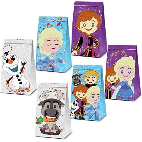 Girl Candy Treat Bags Princess Theme Birthday Party Supplies Winter Snow Queen Goodie Party Favor Bags Baby Shower Dessert Bags