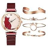 WYHM Reloj para Mujer Patrón Mujeres de los Relojes de Oro Rosa Pulsera Gato Negro Conjunto imán Relojes de señoras de la Pulsera Preciso (Color : 5pcs Red Set)