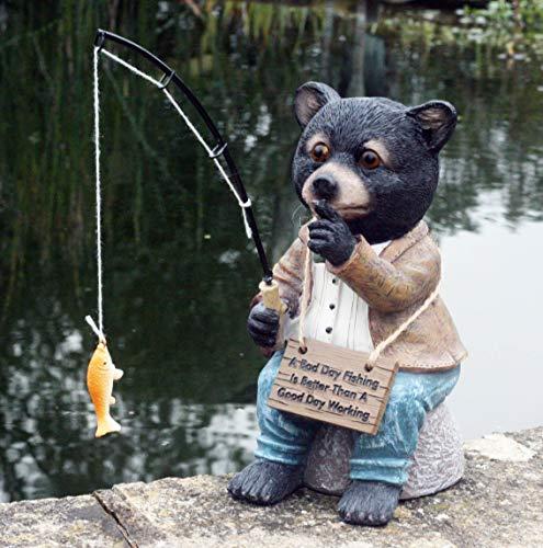 Bernie The Bear 20 cm Resin Garden Fishing/Pond Ornament