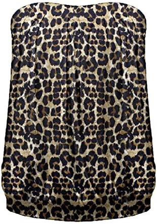 ZANZEA Women s Tube Tops Leopard Print Strapless Shirt Sleeveless Pleated Blouse Leopard 4 product image