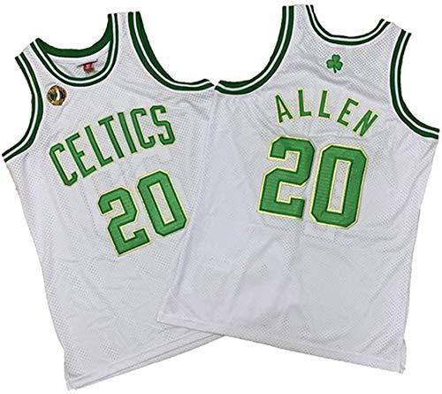 XSJY 'S Jersey- Uomini NBA Boston Celtics 20# Ray Allen Jersey, Abbigliamento Sportivo, Unisex Senza Maniche Ricamato Mesh Pallacanestro Swingman Jersey Top,L:175~180cm/75~85kg