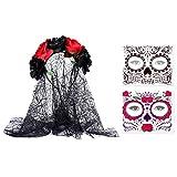 Diadema Frcolor Día de los Muertos, con velo de corona de rosa mexicana con 2 tatuajes temporales para Halloween, tatuajes de calavera de azúcar muerto