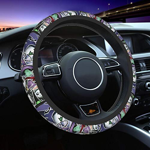 Kechun The Nightmare Before Christmas Universal Car Steering Wheel Covers Cute Cover Accessories Protective Case Anti-Slip Neoprene Fit Most Sedan, SUV, One Size