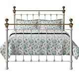 The Original Bed Co. Eisenbett Hamilton Eisen und Messing Bettgestell mit Holz Lattenrost 135 x 190 cm Glänzendes Elfenbein