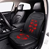 LARROUS Leather Heated Car Seat Cushion with Automatic Power On/Off,for Office Chair,Home and More,with Power Adapter.(12Volt,Black)