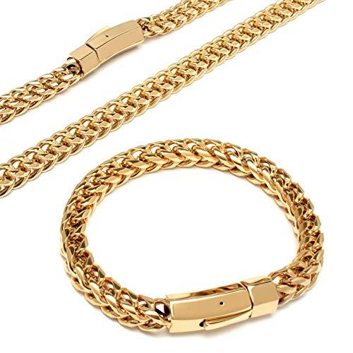 Schmuck-Checker XL Fuchsschwanzketten Schmuckset oder gold Halskette und Armband aus 316L Edelstahl dick schwer Herren (Gold)