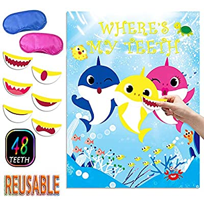 Shark Games REUSABLE Pin the Teeth on Shark Baby Games for Kids Shark Themed Birthday Party, Ocean, Under the Sea Party, Class Games (Upgrade Design)