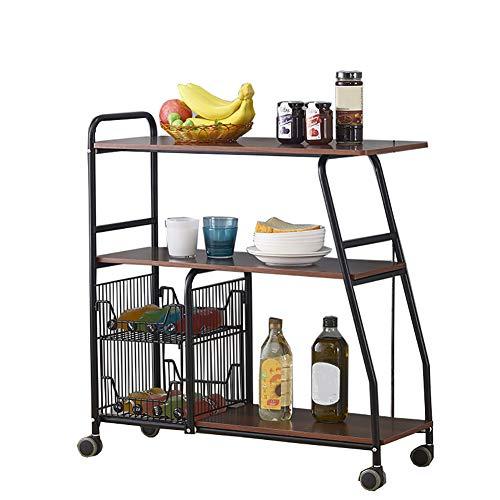 rentongye Küchenregal Mikrowellenherd-Rack, Trolley-Rack Mehrschicht-Lagerschrank Laden 70 Kg, Küchenofen Gemüse-Rack