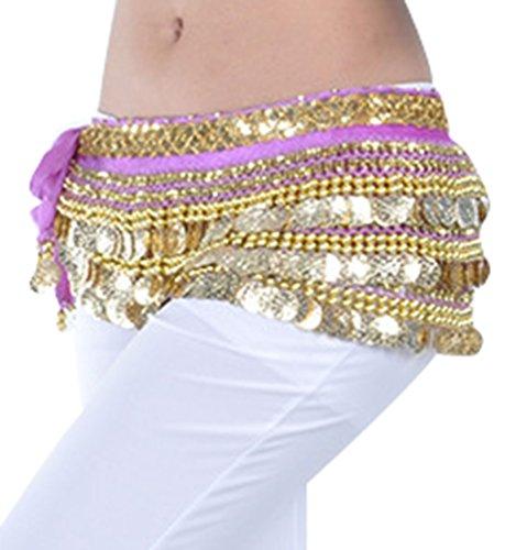 YuanDian Mujer Monedas Lentejuelas Profesional Danza Del Vientre Cinturon Falda Pañuelo Scarf Trajes De Belly Dance Morado Claro+Dorado Moneda