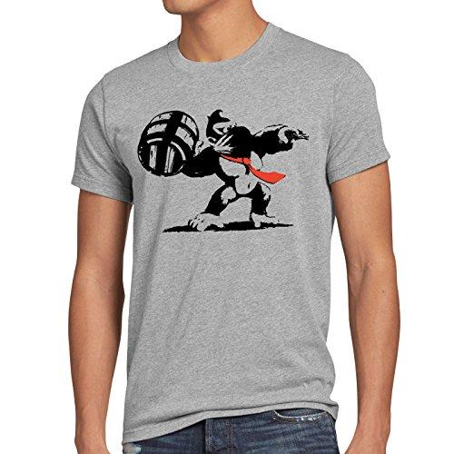 style3 Graffiti Kong Herren T-Shirt Donkey pop Art Banksy Geek SNES Nerd Gamer, Größe:XXXL, Farbe:Grau meliert