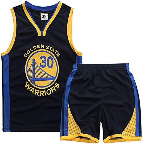 YCJL Basketball Trikot NBA Trikot Stephen Curry # 30 Golden State Warriors Basketball T-Shirt Und Shorts Kinder Jersey Anzug, Atmungsaktiver Mesh Sportanzug,Schwarz,XL:150~160cm
