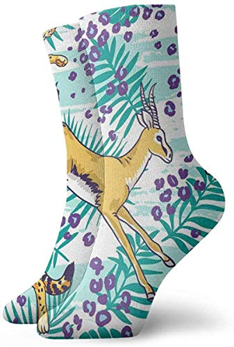 KLING Novedad Divertido Crazy Crew Sock Cabra Tiger Palm Leaves Tropical Impreso Sport Athletic Calcetines 30cm de largo Calcetines personalizados de regalo