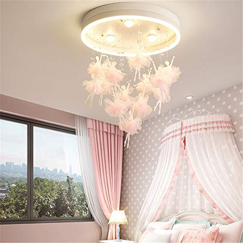 RUNNUP Fairy LED Ceiling Mount Light Romantic with Stepless Dimming&Remote Control Chandelier for Child Bedroom,Girls Room,Baby Room,Dance Room,Pink