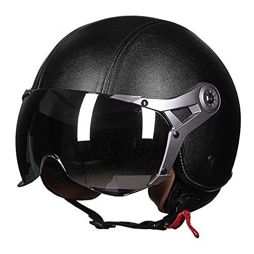 (Grace) 夏用大人気 ヘルメット 多色可選バイクヘルメット男女兼用 ハーフヘルメット   半帽ヘルメット (革黒, XL)
