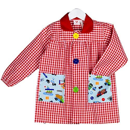 KLOTTZ - Babi colegial cochecitos. Bata escolar colegio bolsillos coches. Mandilón para la guardería y uniformes escolares. niños color: ROJO talla: 4