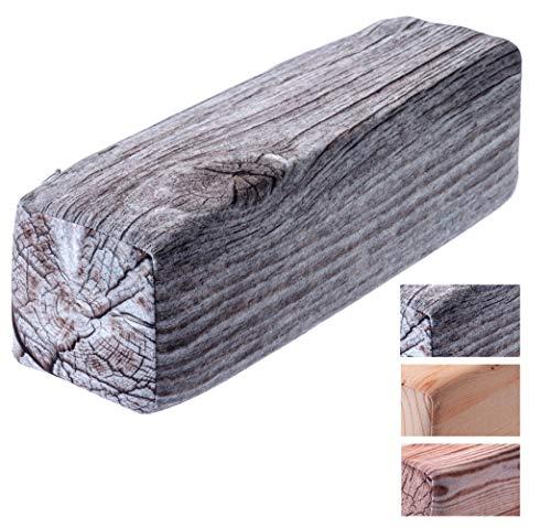 KADAX – Almohada – Vigas de madera, cojín decorativo de espuma, cojín decorativo, cojín cervical con funda lavable, cojín cervical, cojín para cama, cuello, dormir, plata, 40 x 12 x 12 cm